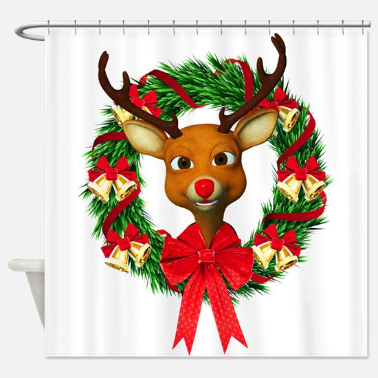 Rudolph the Red Nosed Reindeer Wrea Shower Curtain