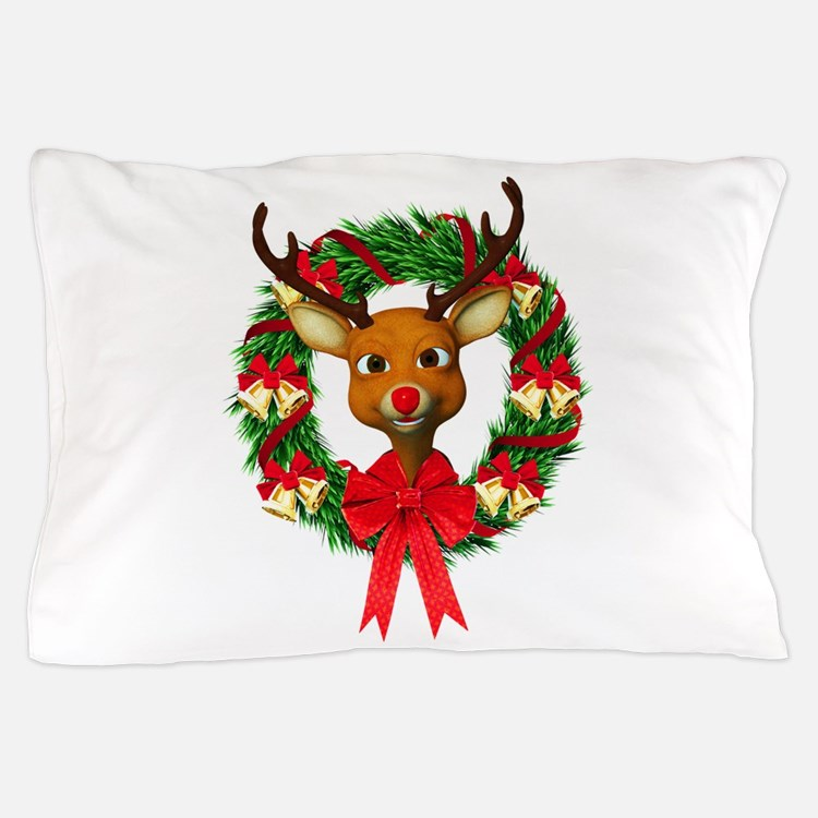 Rudolph the Red Nosed Reindeer Wreath Pillow Case