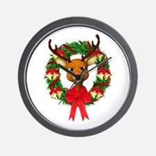 Rudolph the Red Nosed Reindeer Wreath Wall Clock