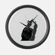 Black & white cat Large Wall Clock