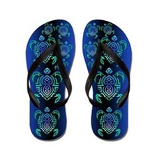 Tribal Turtle Flip Flops