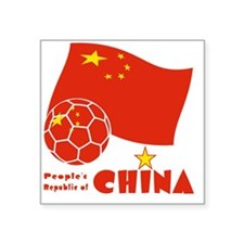 """China Soccer Ball and Flag  Square Sticker 3"""" x 3"""""""