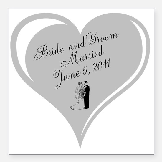 "Wedding Bride And G Square Car Magnet 3"" X 3&"
