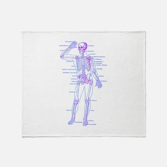 Red Blue Skeleton Body Diagram Throw Blanket