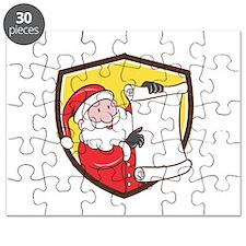 Santa Claus Paper Scroll Pointing Shield Cartoon P