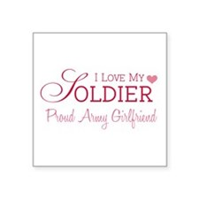 "Cute Army fiancee Square Sticker 3"" x 3"""