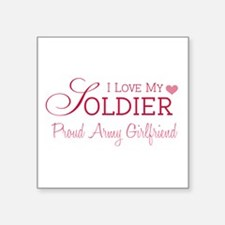 "Funny Soldiers wife Square Sticker 3"" x 3"""