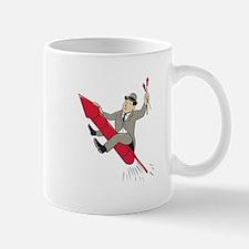 Man Bowler Hat Riding Fireworks Rocket Cartoon Mug
