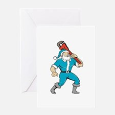 Santa Claus Plumber Monkey Wrench Isolated Cartoon