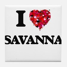 I Love Savanna Tile Coaster