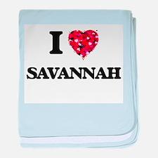 I Love Savannah baby blanket