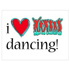 i love neon dancing over white background Poster