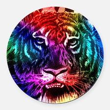 Artsy Rainbow Tiger Round Car Magnet