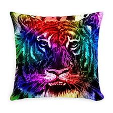 Artsy Rainbow Tiger Everyday Pillow
