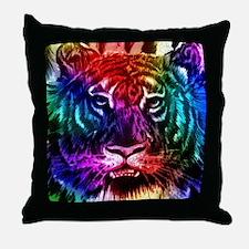 Artsy Rainbow Tiger Throw Pillow