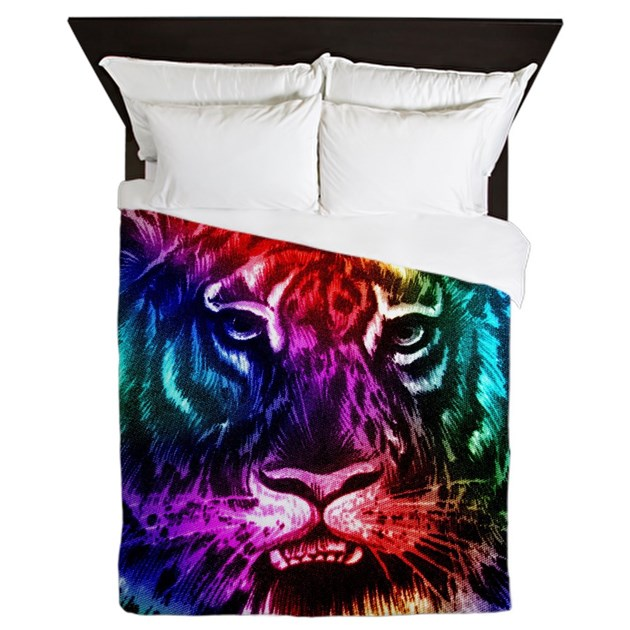 Artsy Rainbow Tiger Queen Duvet By Stircrazy