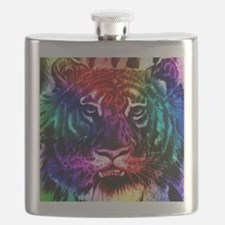 Artsy Rainbow Tiger Flask