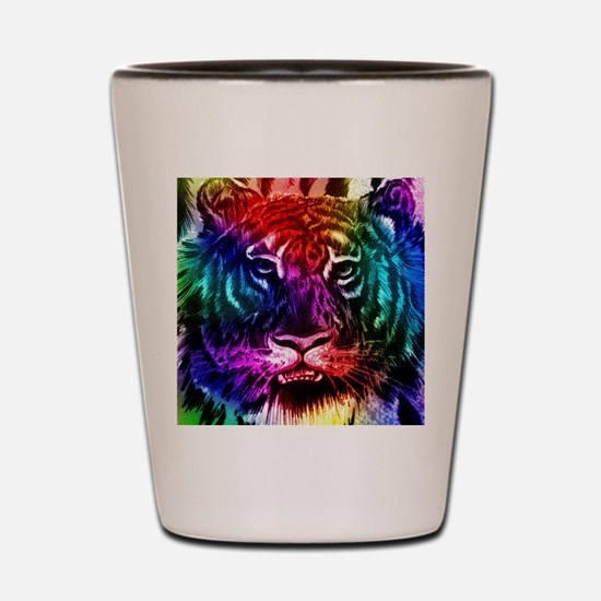 Artsy Rainbow Tiger Shot Glass