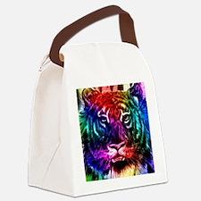 Artsy Rainbow Tiger Canvas Lunch Bag
