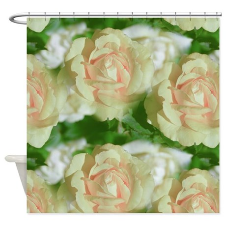 Pretty White Roses Floral Shower Curtain