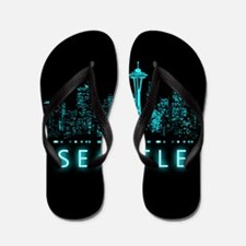 Digital Cityscape: Seattle, Washington Flip Flops