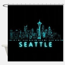 Digital Cityscape: Seattle, Washing Shower Curtain