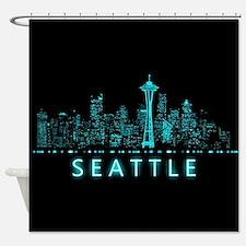 Digital Seattle Shower Curtain