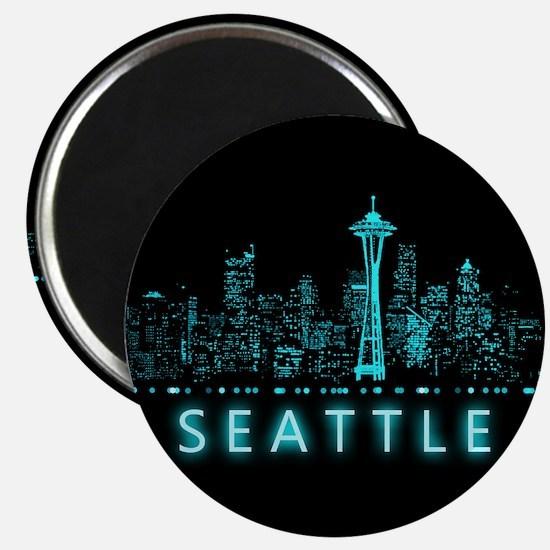 "Digital Cityscape: Seattle, 2.25"" Magnet (10 pack)"