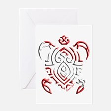 Tribal Turtle Scuba Flag Greeting Cards