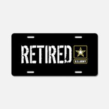 U.S. Army: Retired (Black) Aluminum License Plate