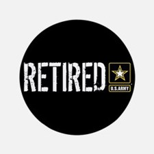 """U.S. Army: Retired (Black) 3.5"""" Button (100 pack)"""