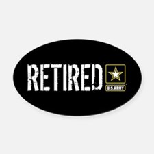 U.S. Army: Retired (Black) Oval Car Magnet