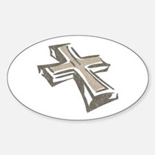 Vintage Cross Oval Decal