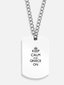 Keep calm and Greece ON Dog Tags