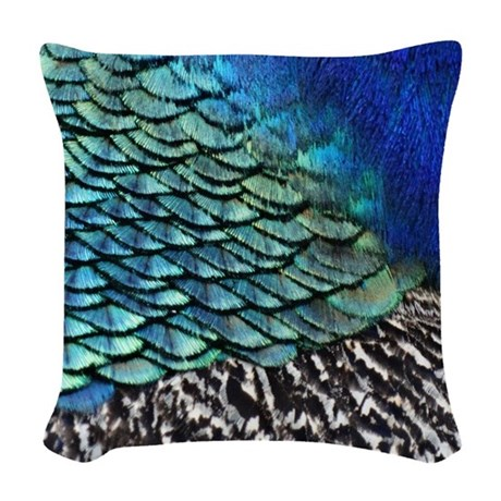 Peacock Feathers Woven Throw Pillow by joysdesignershop