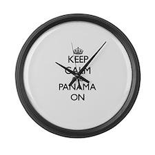 Keep calm and Panama ON Large Wall Clock