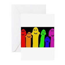 GAY MUSHROOM PEOPLE RAINBOW PRIDE A Greeting Cards