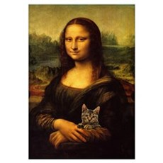 Monalisa with cat Framed Print