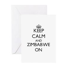 Keep calm and Zimbabwe ON Greeting Cards