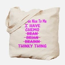 Funny Cancer Chemo Brain Pink Tote Bag