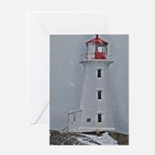 Winter at Peggy's Point Lighthouse Greeting Cards