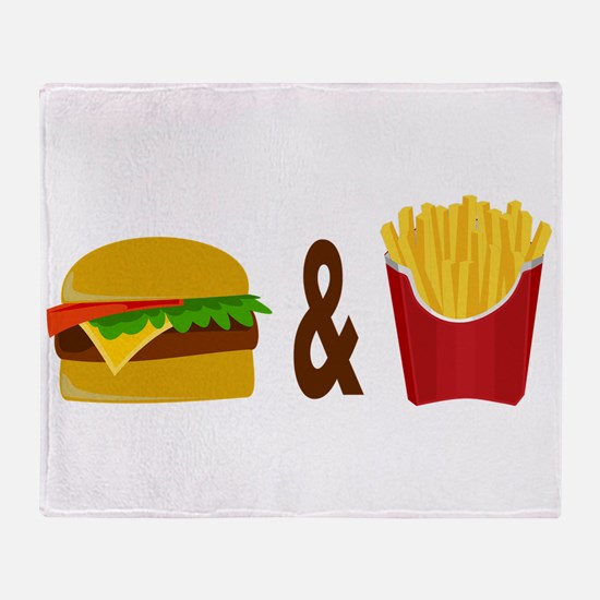 Burger and Fries Throw Blanket