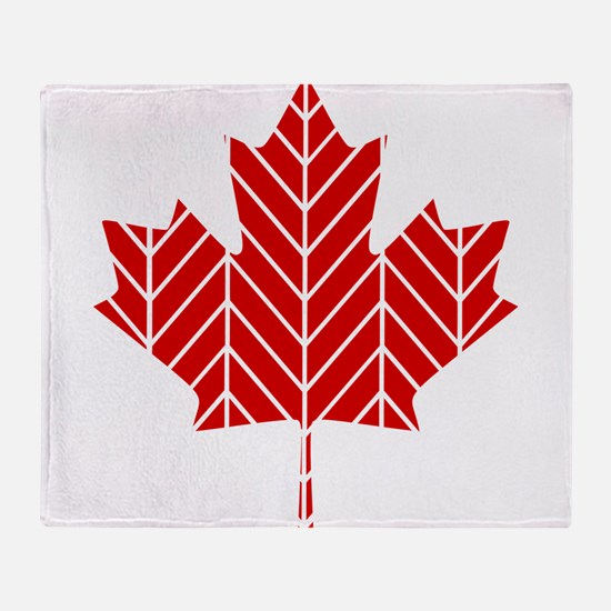 Chevron Maple Leaf Throw Blanket