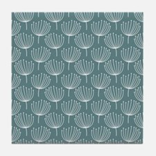 Abstract Dandelions on Gray Blue Back Tile Coaster
