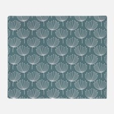 Abstract Dandelions on Gray Blue Bac Throw Blanket