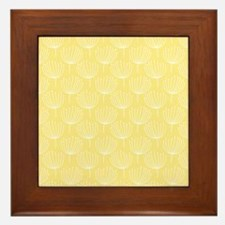 Abstract Dandelions on Pale Yellow Framed Tile