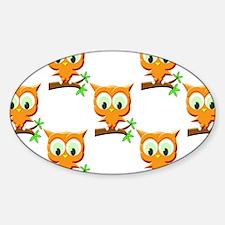 Cartoon Little Owl On Branch Patter Decal