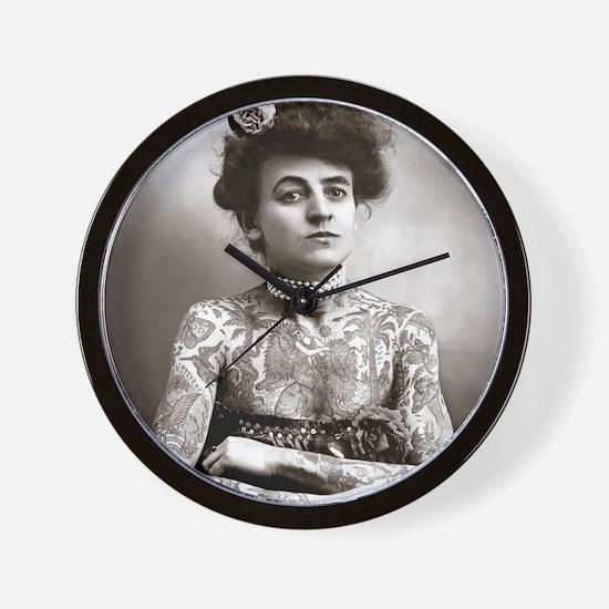 Tattooed Lady, 1907 Wall Clock