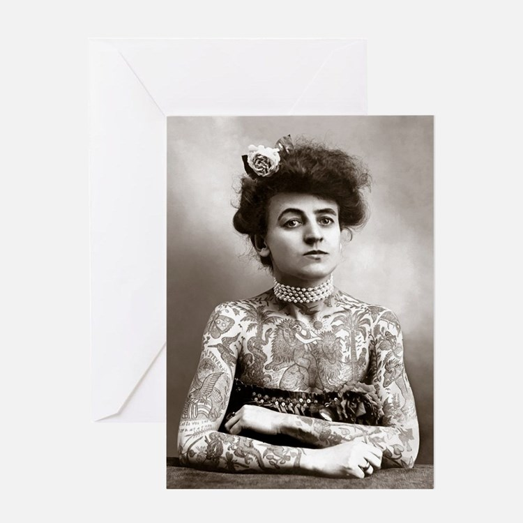 Tattooed Lady, 1907 Greeting Card