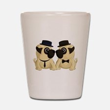 Groom Pugs Shot Glass